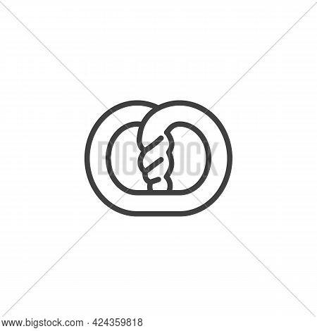 Pretzel Line Icon. Linear Style Sign For Mobile Concept And Web Design. Pretzel Outline Vector Icon.