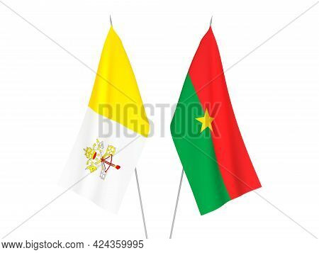 National Fabric Flags Of Vatican And Burkina Faso Isolated On White Background. 3d Rendering Illustr