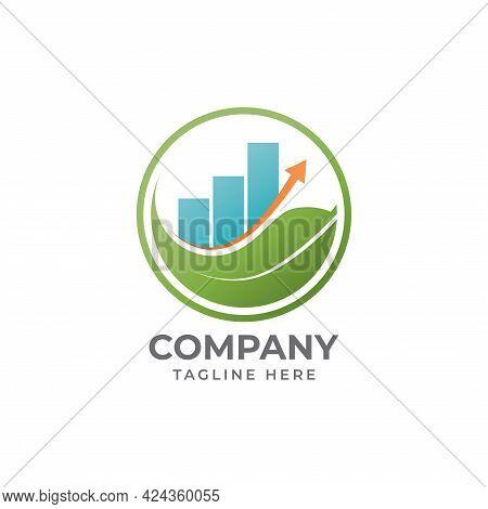 Mindful Saving Logo Design Concept With Leaf Shape, Bar Chart And Level Up Arrow Element. Illustrate