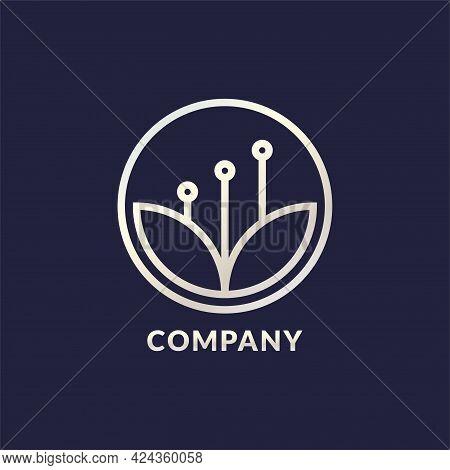 Mindful Saving Logo Design Concept With Lotus Leaf Shape And Flower Pistil As A Bar Chart Inside A C