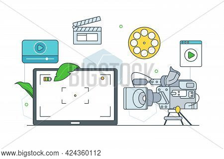 Video Production And Filmmaking Process Vector Illustration. Camera, Clapperboard Tools For Videogra