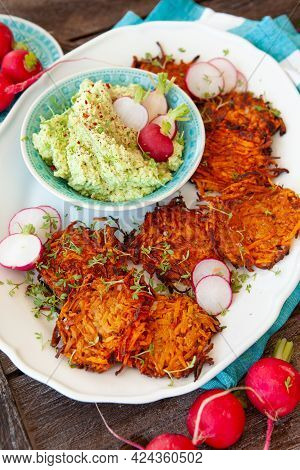 Savory Sweet Potato Fritters With Avocado Dip And Fresh Radish