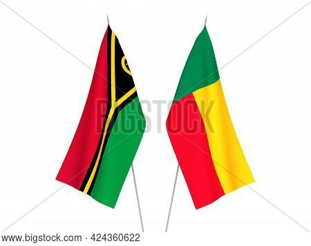 National Fabric Flags Of Benin And Republic Of Vanuatu Isolated On White Background. 3d Rendering Il