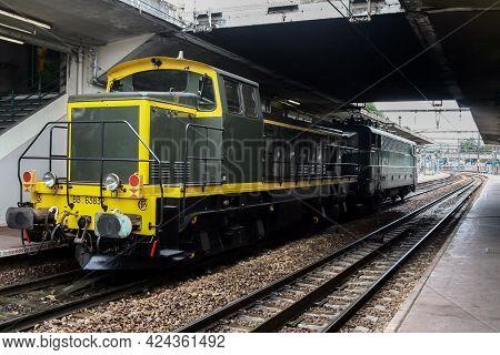 Versailles, France - July 22, 2011: Heritage Diesel Locomotive Bb 63000 Series Standing On A Platfor