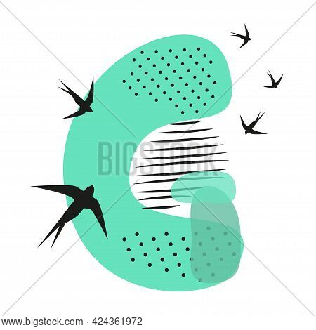 Minimalistic Pattern An Oriental Style In Form Of Letter G. Flock Of Swallows Flies. Abstract Object