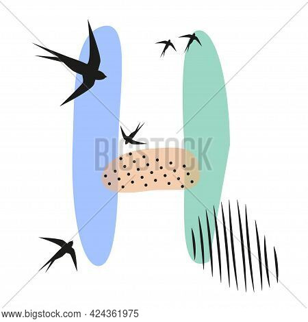 Minimalistic Pattern An Oriental Style In Form Of Letter H. Flock Of Swallows Flies. Abstract Object