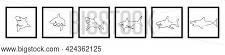 Countinuous One Line Drawing Sharks Silhouete Posters Set. Shark Logo Set Line Art. One Line Art Tem
