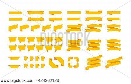 Yellow Ribbon Banners Set. Big Ribbons Set. Ribbons Collection Isolated On White Background. Royal R