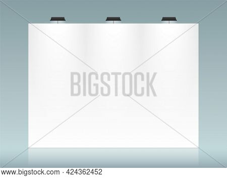 White Backdrop Vector Template With Copy Space.