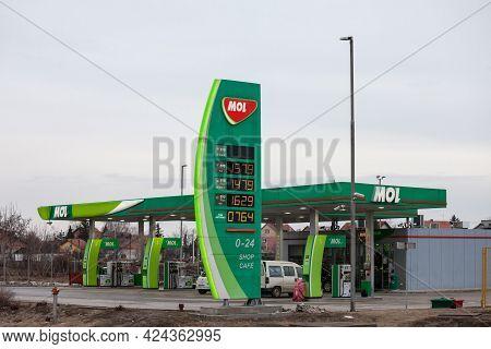 Belgrade, Serbia - February 2, 2019: Logo Of Mol Group On One Of Its Gas Stations Of Belgrade. Mol I