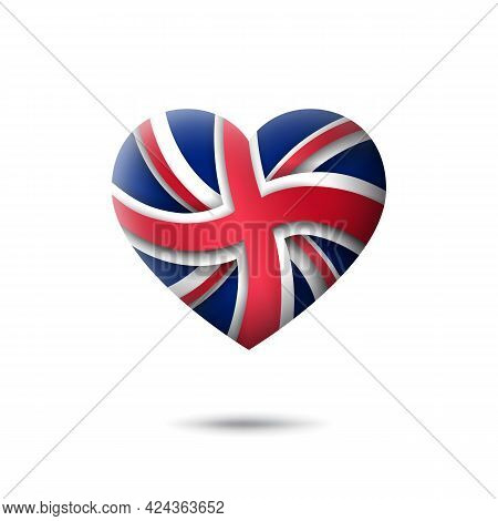 Great Britain Flag Icon In The Shape Of Heart. Abstract Flag Of United Kingdom. Uk Pattern. Flat Sty