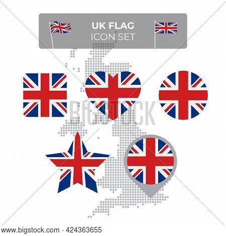 United Kingdom, Great Britain Wavy Flag Icons Set - Square, Heart, Circle, Stars, Pointer, Map Marke