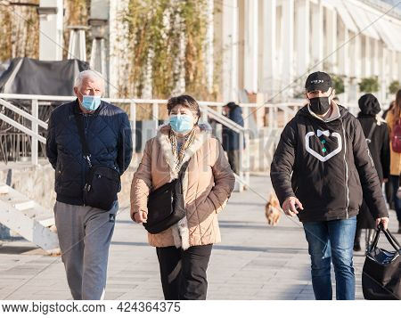 Belgrade, Serbia - March 13, 2021: Selective Blur On Old Senior Man And Woman, Couple, Wearing A Fac