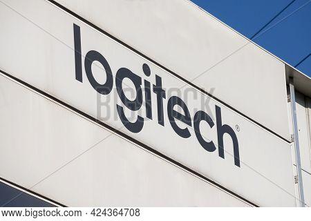 Belgrade, Serbia - April 24, 2021: Logitech Logo On Their Main Office For Belgrade. Logitech Is A Sw