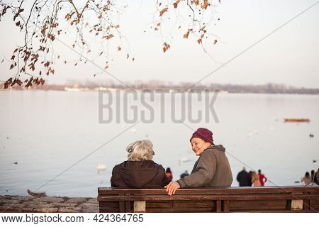 Belgrade, Serbia - January 27, 2017: Two Senior Old Women, Grandmothers, Serbs, Friends, Sitting And