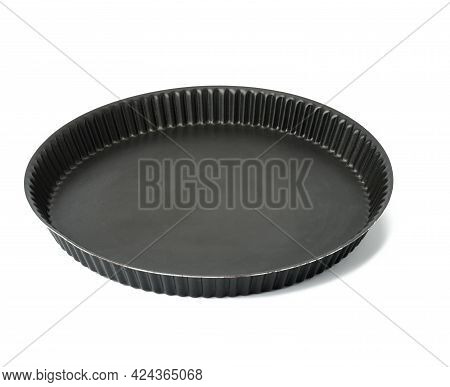 Empty Black Round Non-stick Cake Pan Isolated On White Background, Top View