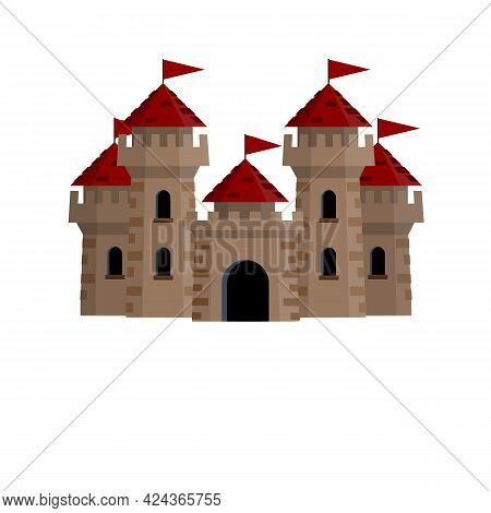Medieval European Stone Castle. Knights Fortress. Concept Of Security