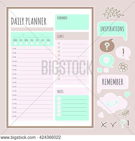 Daily Planner Stickers Printable Page Template Schedule And Collection Of Design Elements For A Day