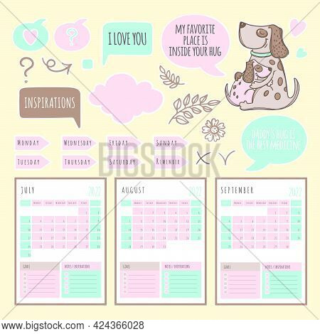 Dog Planner 2022 Template Schedule And Collection With Design Elements For A Three Months For Printa