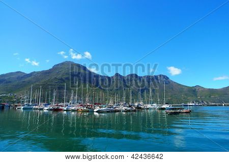The Sentinel Peak at the Hout Bay harbour near Cape Town, South Africa