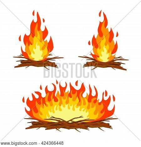 Red Campfire. Orange Flame. Tourist Bonfire. Element Of Hike And Fire. Heat And Hot Object. Cartoon