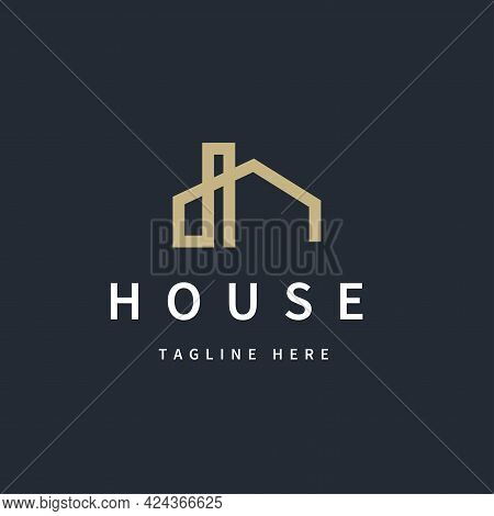 Isolated Modern Abstract Simple Line House Logo Symbol Icon Design Template For Real Estate, Buildin