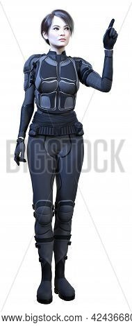 3D Rendering Female Sceince Fiction Warrior On White