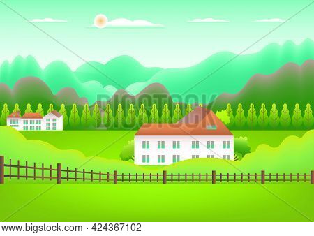 Landscape Village, Mountains, Hills, Trees, Forest. Rural Valley Farm Countryside With House, Buildi
