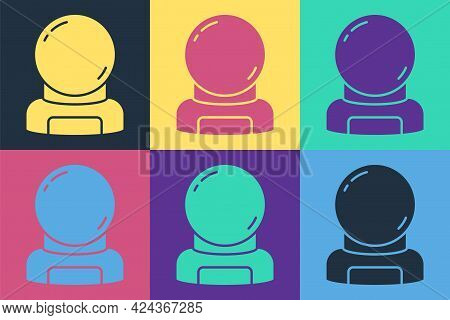 Pop Art Astronaut Helmet Icon Isolated On Color Background. Vector
