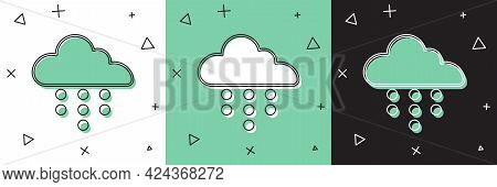 Set Cloud With Rain Icon Isolated On White And Green, Black Background. Rain Cloud Precipitation Wit
