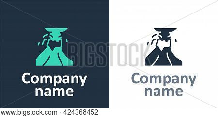 Logotype Volcano Eruption With Lava Icon Isolated On White Background. Logo Design Template Element.