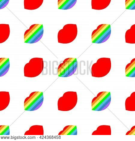 Sexy Lips. Seamless Bright Vector Pattern With Rainbow And Red Lips On A White Background. Fashion P