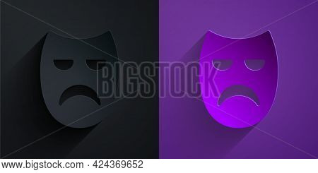 Paper Cut Drama Theatrical Mask Icon Isolated On Black On Purple Background. Paper Art Style. Vector