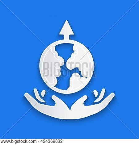 Paper Cut World Expansion Icon Isolated On Blue Background. Paper Art Style. Vector