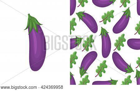 Eggplant Blue Pattern. Seamless Background Of Vegetables. Diet Healthy Organic Food. Ingredient Sala