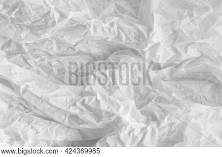 Abstract White Background. White Crumpled Paper. Selective Focus.