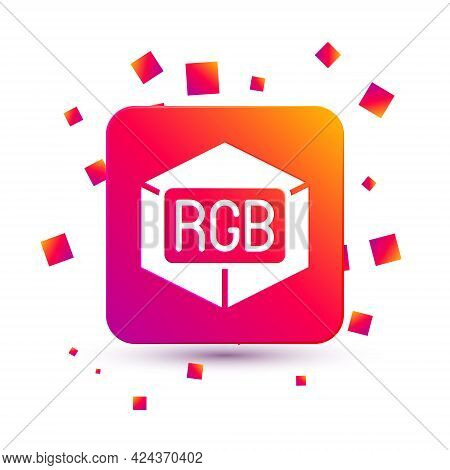 White Rgb And Cmyk Color Mixing Icon Isolated On White Background. Square Color Button. Vector