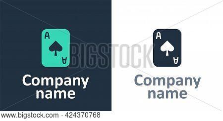 Logotype Playing Cards Icon Isolated On White Background. Casino Gambling. Logo Design Template Elem