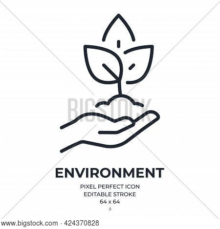 Ecology And Environment Concept Editable Stroke Outline Icon Isolated On White Background Flat Vecto