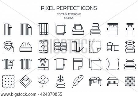 Line And Home Textile Related Editable Stroke Outline Icons Set Isolated On White Background Flat Ve