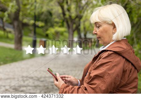 Customer User Give Rating To Service Experience On Online Application. Customer Review Satisfaction
