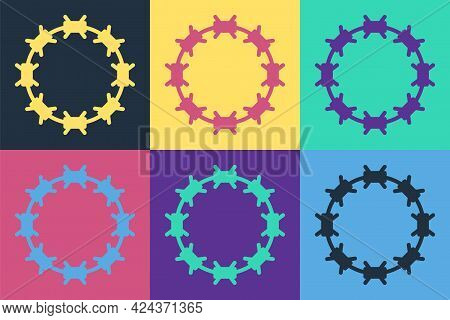 Pop Art Crown Of Thorns Of Jesus Christ Icon Isolated On Color Background. Religion, Bible, Christia