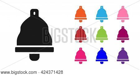 Black Church Bell Icon Isolated On White Background. Alarm Symbol, Service Bell, Handbell Sign, Noti