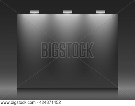 Black Backdrop Vector Template With Copy Space.