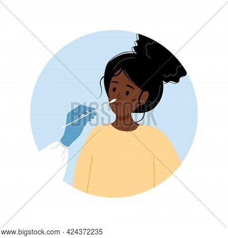 African Woman Does Pcr Test. Nasal Swab Laboratory Analysis. Covid-19 Coronavirus Testing. Doctor Ta