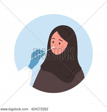 Muslim Woman Does Pcr Test. Nasal Swab Laboratory Analysis. Covid-19 Coronavirus Testing. Doctor Tak