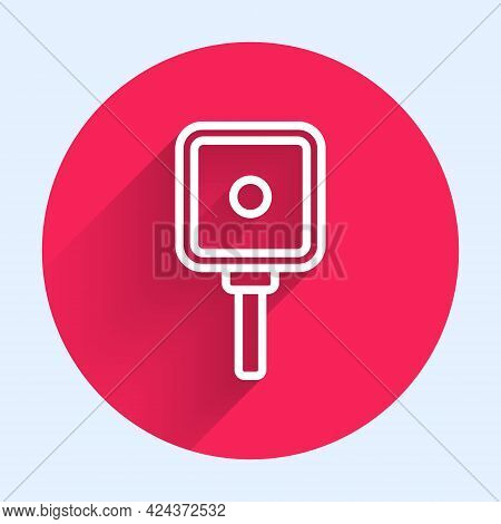 White Line Frying Pan Icon Isolated With Long Shadow. Fry Or Roast Food Symbol. Red Circle Button. V