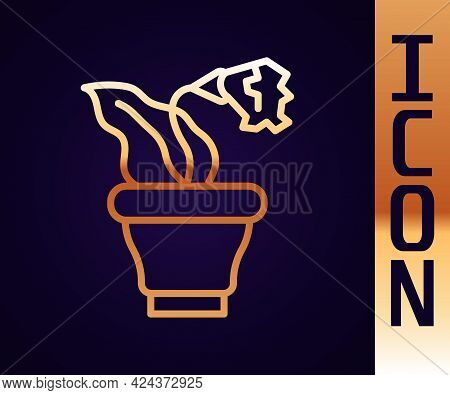 Gold Line Flower In Pot Icon Isolated On Black Background. Plant Growing In A Pot. Potted Plant Sign