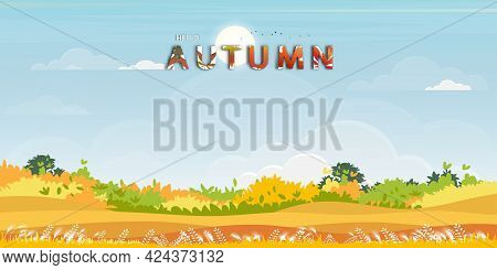 Hello Autumn Background With Natural Forest Landscape With Lawn Grass Field And Hills,vector Nature