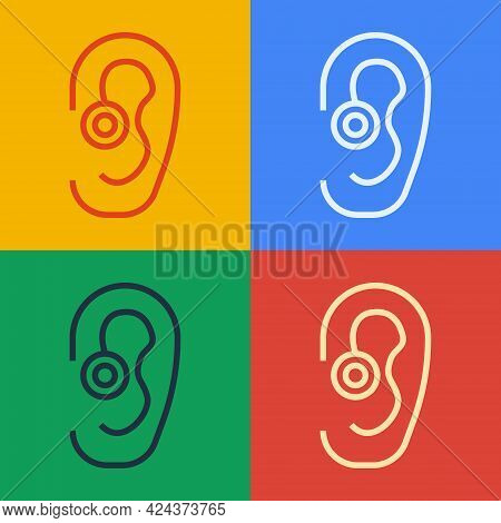 Pop Art Line Hearing Aid Icon Isolated On Color Background. Hearing And Ear. Vector